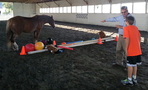 Young boy in Equine Assisted Psychotherapy session at Berkshire HorseWorks